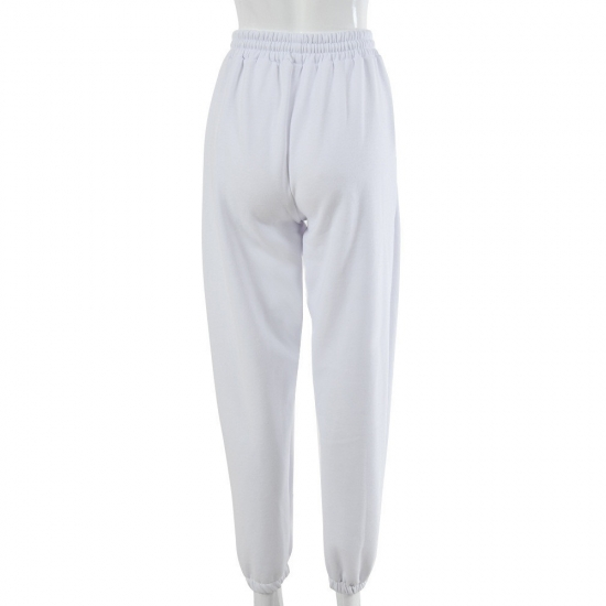 Women Sexy High Waist Loose Fleece Sweatpants Trousers With Pockets 2021 Fall Winter Black And White