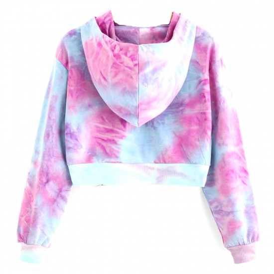 Cropped Pullover Hoodies Teen Girls Sun Tie-dye Printed Hooded Sweatshirts