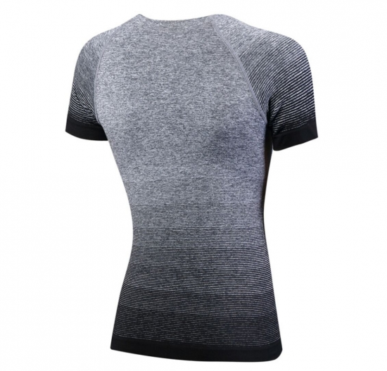 Gradient Stripe Short Sleeve Top For Fitness T Shirts For Women Yoga Gym Shirt Workout