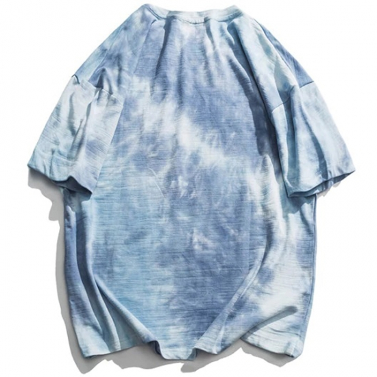 Women Tie Dye Loose T Shirt Women Summer Round Neck Street Wear T-Shirt Short Sleeve