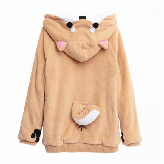 Tail Sweatshirt Plush Women Kangaroo Pocket Hoodie Paws Front Button Hoodie