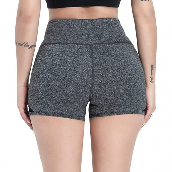 Hot Women Casual Solid Elastic High Waist Push Up Fitness Yoga Shorts Running Gym Stretchy Shorts