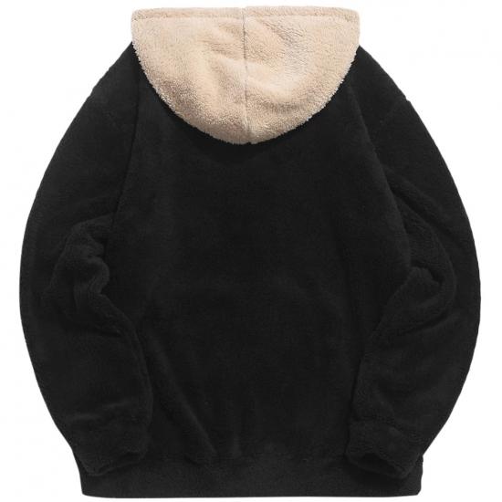 Winter Color block Splicing Faux Fur Fluffy Hoodies