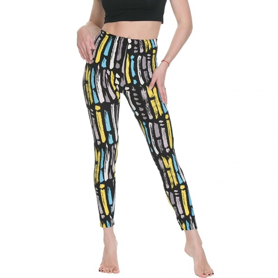 Women Floral patterned Printed Leggings Fashion Slim elastic Pants Black white graffiti Legging