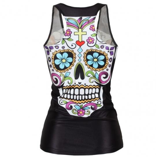Compression Sports Tank Tops Running Vest Female Skull Printed Yoga Gym Top Fitness Sleeveless Tanks