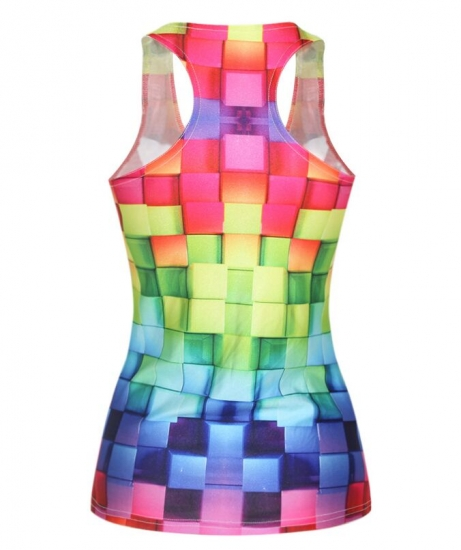 Multi Colors Printed U Neck Tank For Summer Ladies Dance Gym Tops Sleeveless Sports Tops
