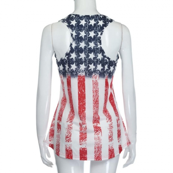 American Patriotic Flag Printed Custom Tanks Women for Workout And Street Wear