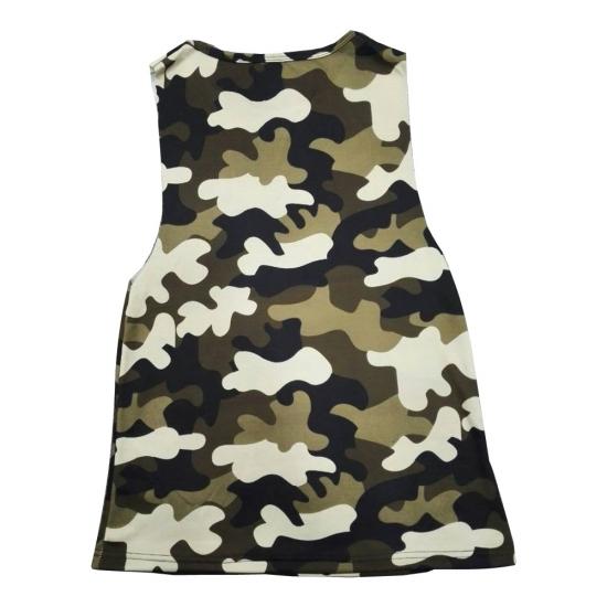 Sleeveless Big Shoulder Hole Camo Color Short Length Custom Style Tanks For Women Street & Gym Wear