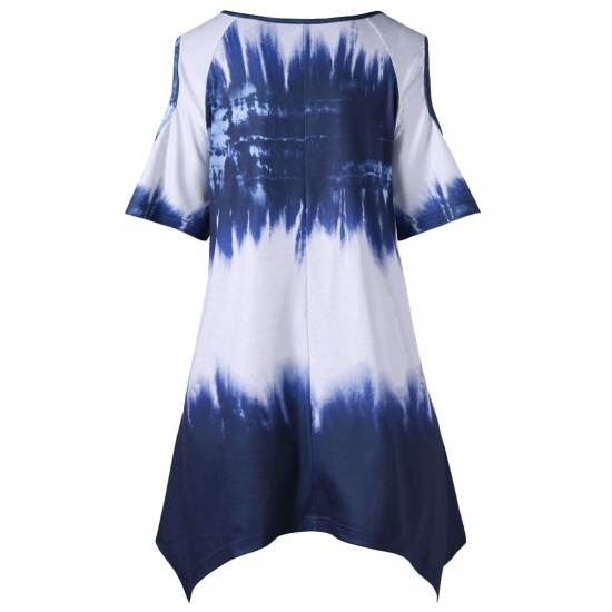 Tie Die Printed Half Sleeve Loose Style Breathable Women Tank Tops For Yoga And Gym Wear