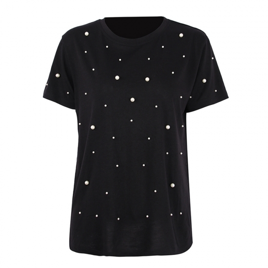 Polka Dots Printed O-Neck Half Sleeve Women Tank Tops For Running And Fitness Wear Casual Wear Tanks