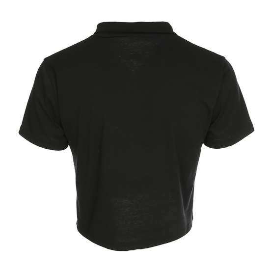 Zipper Style Collar Neck Custom Polo Style Sexy Crop Tops Custom Colors & Sizes T Shirts