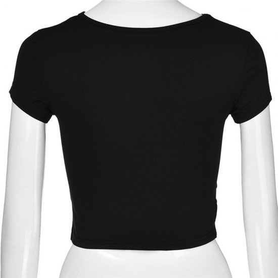 New Solid Black White Short Sleeve T-Shirt Tees Top Women Sexy Hollow Out Crop Top