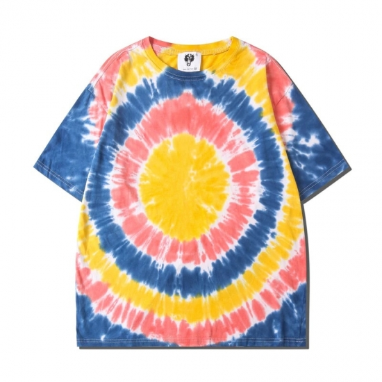 Tie Dye T Shirt Summer Hip Hop Women Round Neck Irregular Pattern T Shirts