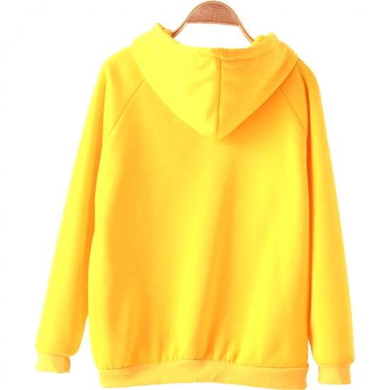Women Hoodies Yellow Long Sleeve Hooded Sweatshirt
