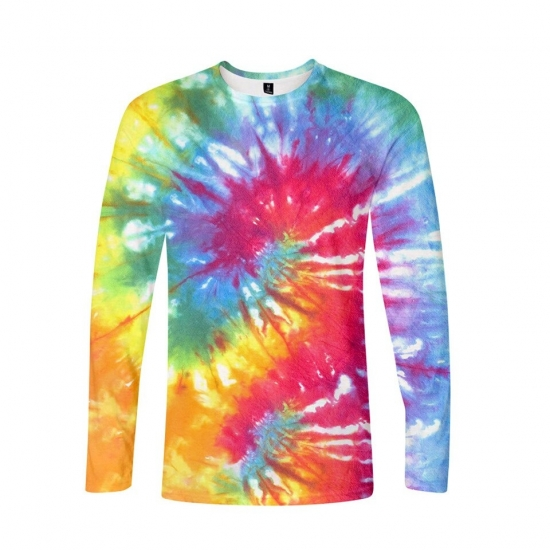 Women T Shirt 3D Tie Dye Flashbacks Colorful T Shirts Long Sleeve Spring Winter Tee Tops