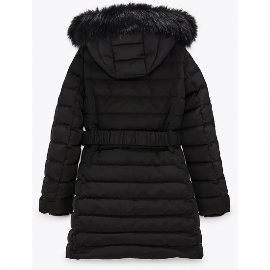 New Belt Design Hoodie Padded Jackets For Women