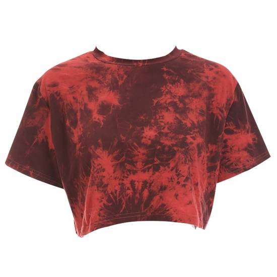 Custom Mesh Brown Tie Dye Marbling Effect Print Short Sleeve Rushed Women Sexy Cut Out Crop Top
