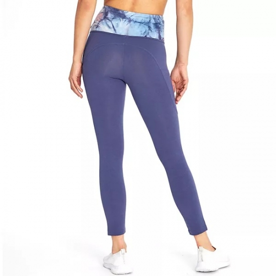 Printed Waist Band Solid Color Flexible Women leggings