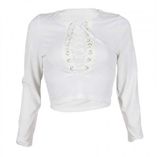 Women Fashion Sexy Strat Long Sleeve Knit White Lases Neck Styles Short Crop Top