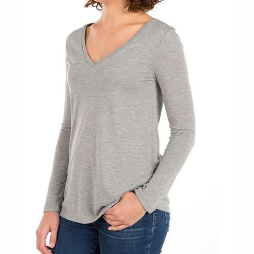 Women Flowy Long Sleeve V‑Neck Casual T‑shirt
