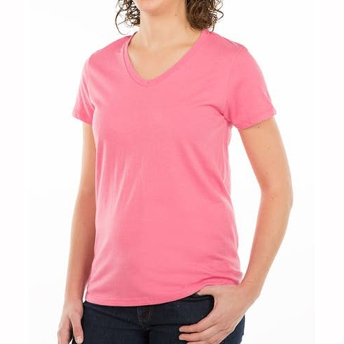 Custom Womens 100% Cotton V‑Neck T‑shirt