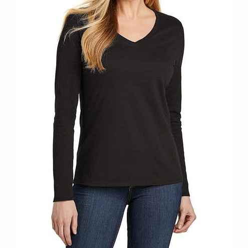 Women Long Sleeve V Neck Solid Color Custom T‑shirt