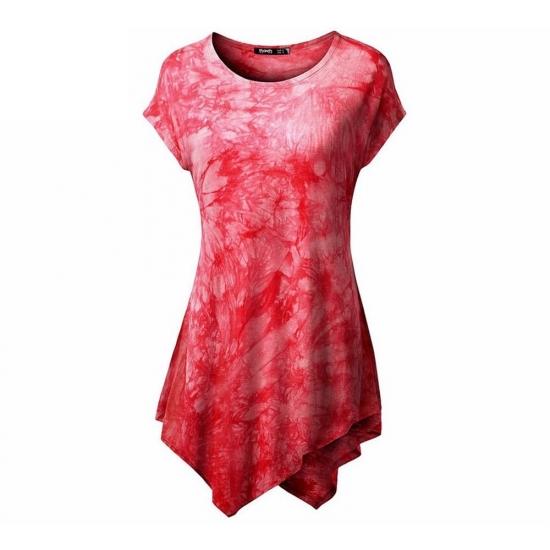 Bottom Corner Styled Tie Die Printed Women Tank Tops For Casual And Street Wear