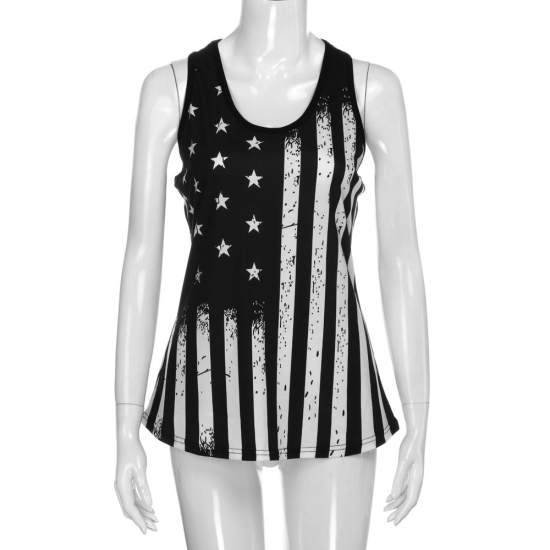 Casual Wear American Flag Printed Custom Tanks Women for Workout And Street Wear