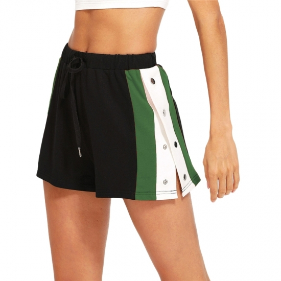 New Ladies High Waist Casual Solid Color Yoga Shorts Gym Training Sports Women