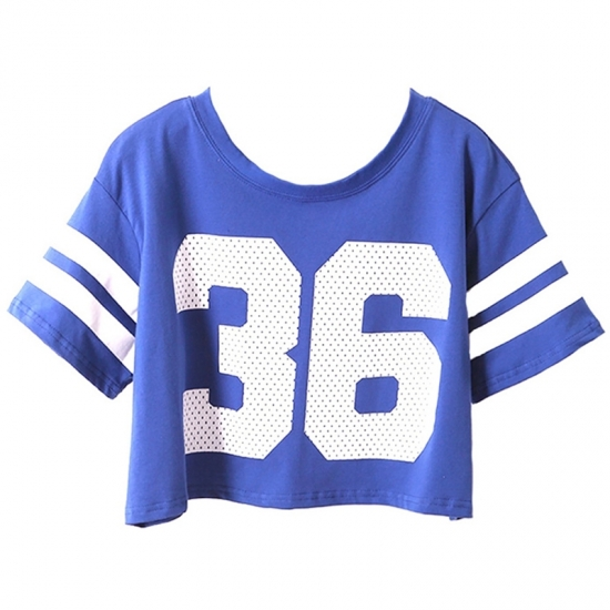 Crop Top Women Summer U-Neck Half Sleeve Solid Colors Custom Printing Sports Wear Crop Tops