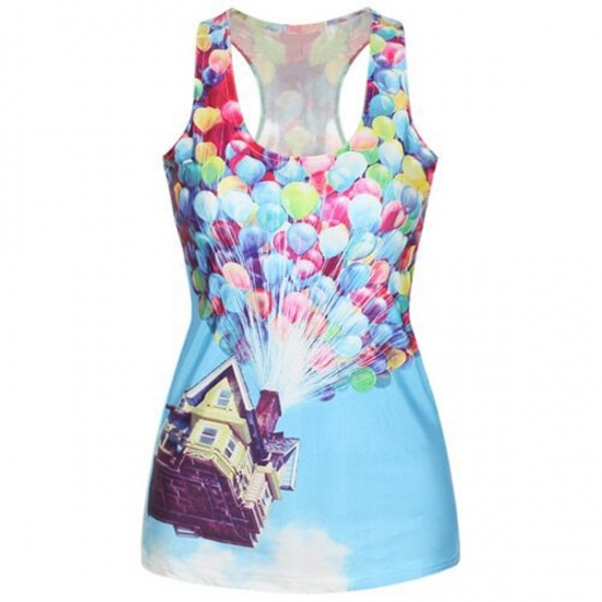U Neck Balloon Printed Sports Vest Women Sleeveless Yoga Shirt Gym Tank Top Fitness Running Vests