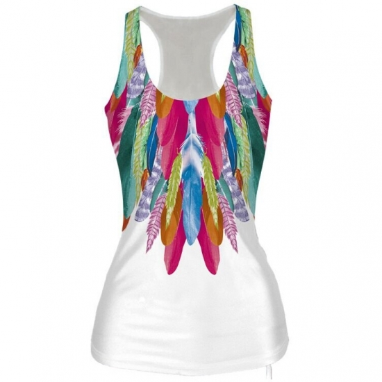 Multi Color Feather Printed Sports Vest U Neck Fitness Tank For Women Yoga Tops Sleeveless