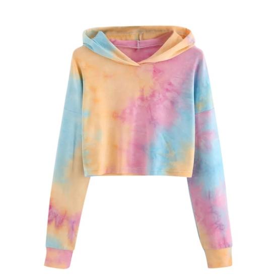 Cropped Sweatshirt Women Tie Dye Printed Hoodies Clothes Warm Soft Full Sleeve Tops