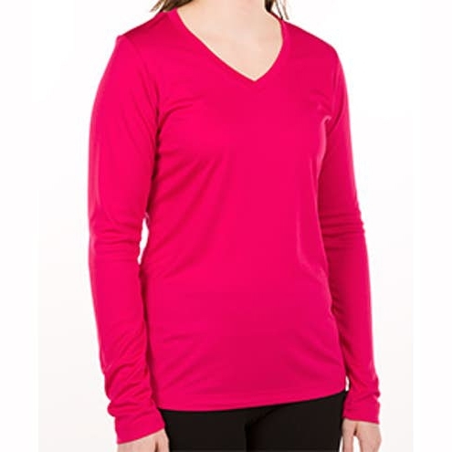 Women Long Sleeve V‑Neck Performance Shirts For Workout and Fitness Wear